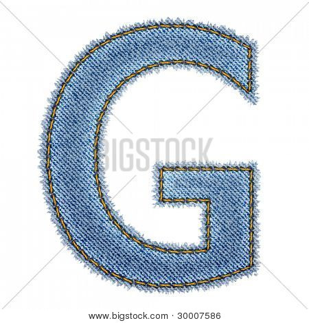 Jeans alphabet. Letter G. Vector eps10 background