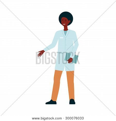African-american Medical Doctor Standing And Gesticulating Cartoon Style