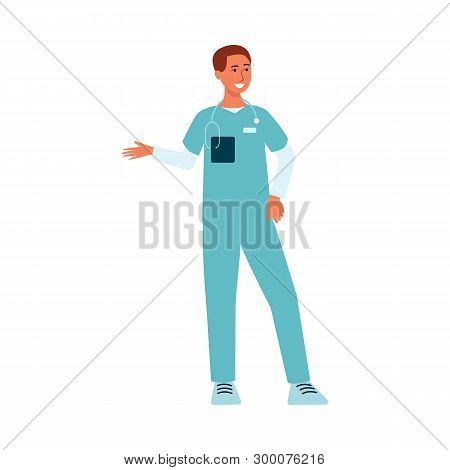 Medical Male Doctor Standing And Gesticulating Cartoon Style