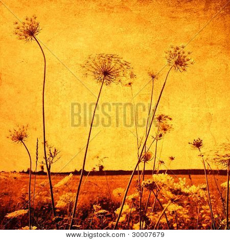 Flower field in retro and grunge style.
