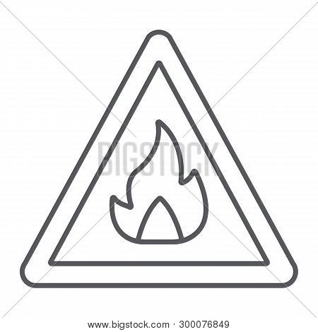 Flammable Sign Thin Line Icon, Warning And Attention, Fire Symbol Sign, Vector Graphics, A Linear Pa