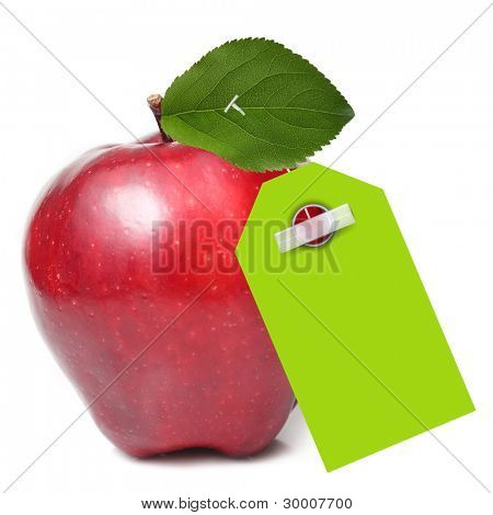 Red apple with green tag isolated