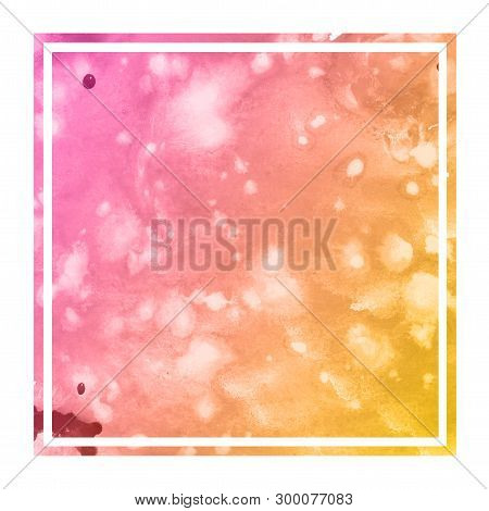 Warm Orange Hand Drawn Watercolor Rectangular Frame Background Texture With Stains