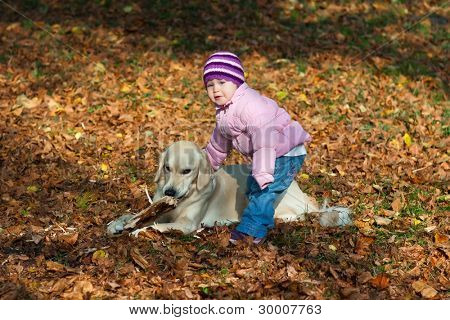 Little girl with a dog in the park in autumn