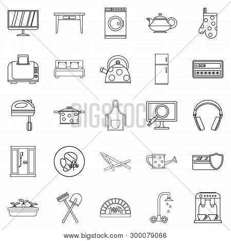 Cool House Icons Set. Outline Set Of 25 Cool House Icons For Web Isolated On White Background