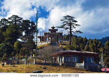 Druk Wangyal Monastery With A Beautiful Cloudy Background
