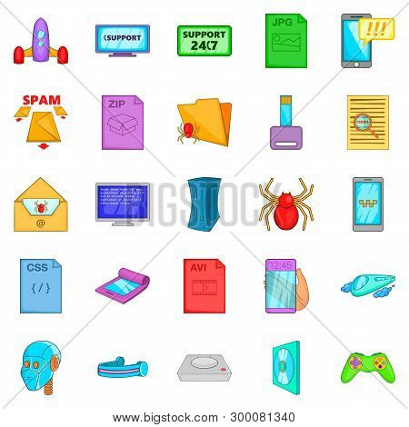 Spyware Icons Set. Cartoon Set Of 25 Spyware Icons For Web Isolated On White Background