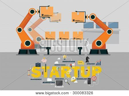 Automation Robot Arm Machine In Smart Factory Industrial. Startup Business Vector Illustration