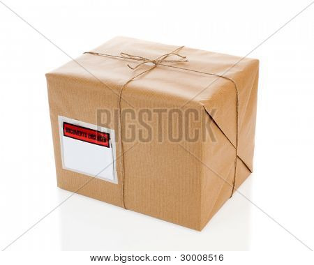 Parcel on white background with blank delivery label