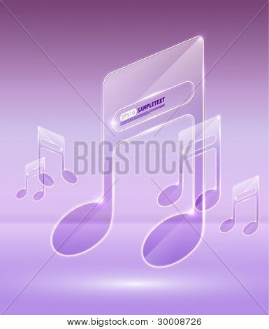 Vector High Glossy Transparent Glass Musical Notes
