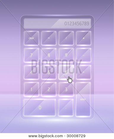 Vector High Glossy Transparent Glass Calculator
