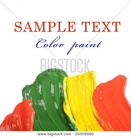 Abstract dabs colour paints on white background