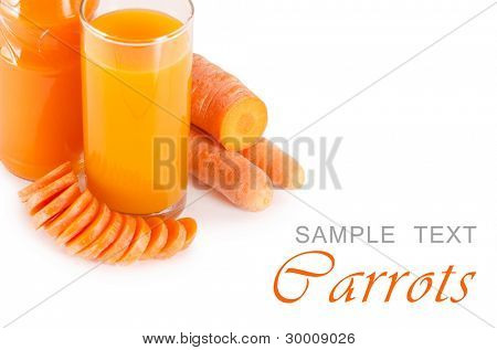 Glass with carrot juice  isolated on white