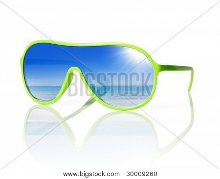 1980s styled cheap plastic sunglasses with reflection of the sea.