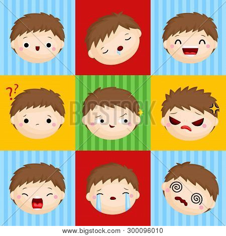 A Vector Composition Of Cute Little Boy Faces Expressing Many Emotions