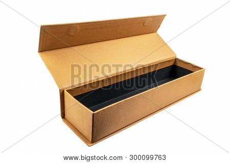 Open Cardboard Box On White Background. Cardboard Box Isolated. Package Box With Clipping Path. Empt