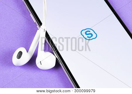 Helsinki, Finland, May 4, 2019: Skype Business Application Icon On Apple Iphone X Smartphone Screen