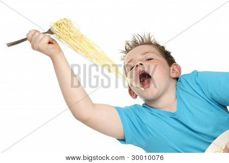 Boy Eating Spaghetti.