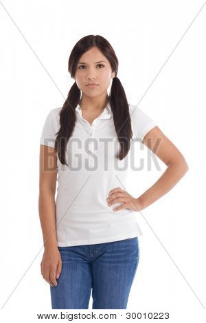 Hispanic teenage girl female student wearing uniform like outfit - jeans and polo-shirt