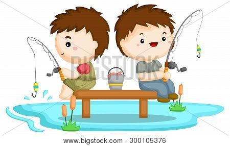 Two Brothers Fishing Together At A Lake