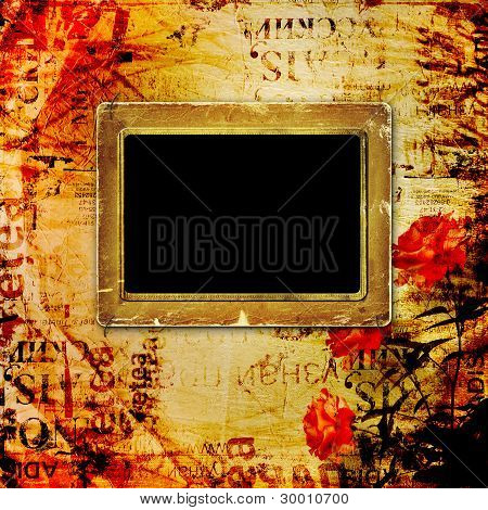 Old Grunge Torn Frame On The Ancient Background
