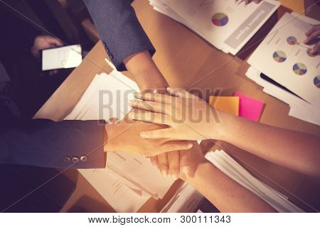 Success And Winning Concept - Happy Business Team Celebrating Victory In Office.vintage Color