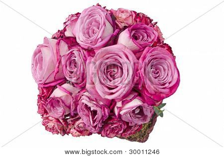 Pink roses bouquet, view from above