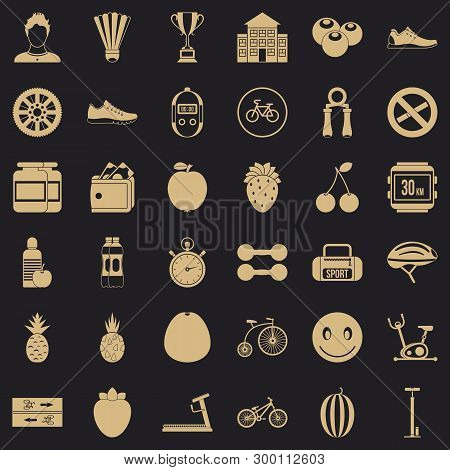 Strength icons set. Simple style of 36 strength vector icons for web for any design poster