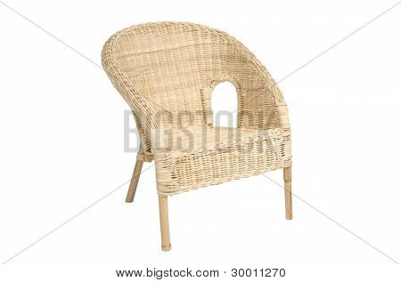 Wicker comfortable armchair, isolated on white background