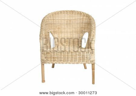 Rattan chair, isolated on white background