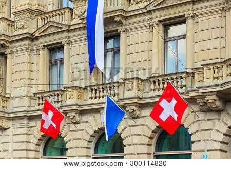 Zurich, Switzerland - August 1, 2016: Part Of The Facade Of The Credit Suisse Building At Paradeplat