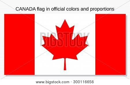 Canada Flag In Official Colors And Proportions. Vector. Canadian National Country Symbol. Isolated I