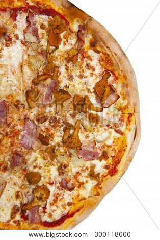 Pizza With Chanterelles Isolated On White Background