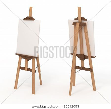 Wooden Easel With Blank Canvas, Front And Back, Isolated On White