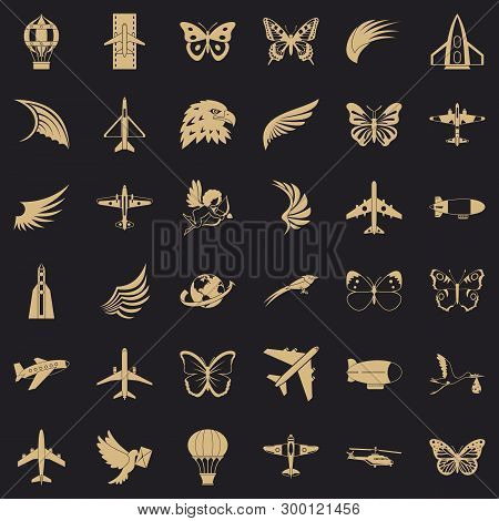 Aerospace Icons Set. Simple Style Of 36 Aerospace Vector Icons For Web For Any Design