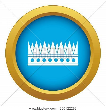 Regal Crown Icon Blue Vector Isolated On White Background For Any Design
