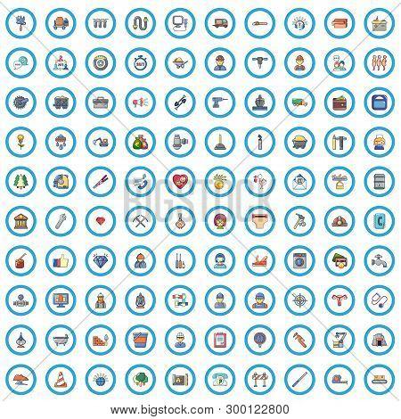 100 Work Icons Set. Cartoon Illustration Of 100 Work Vector Icons Isolated On White Background