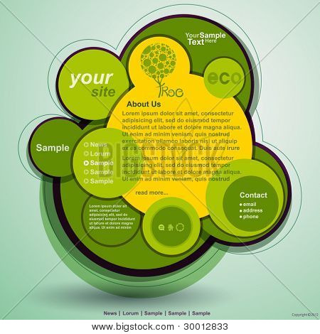 Abstract web site green design, vector template