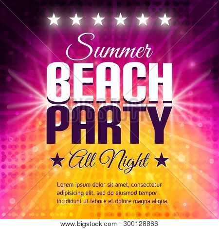 Summer Beach Party Flyer. Disco Party  Background In Pink And Yellow Colors. Place For Text. Vector