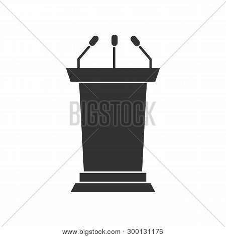 Solid Tribune Or Podium Silhouette Icon For Your Design. Vector Illustration.
