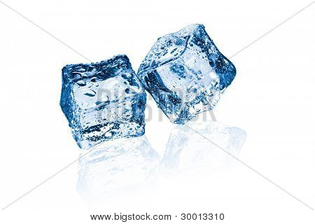 two ice cubes on glass table