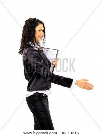 Executive business woman handshake. Isolated over white background.