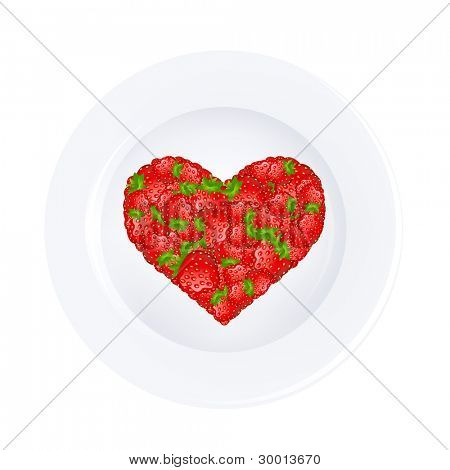 Heart From Strawberry On Plate, Isolated On White Background, Vector Illustration