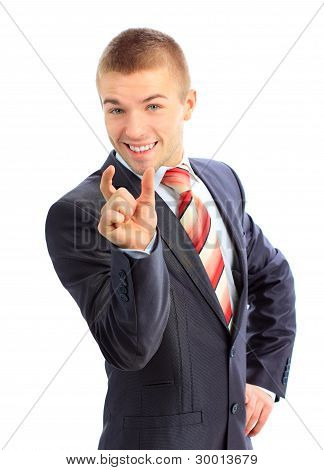 Portrait of a business man bragging about the size of something with hand over white background