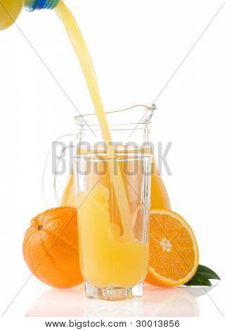 flowing juice and orange isolated on white background
