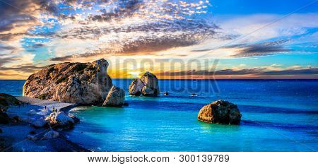 Best beaches of Cyprus island - Petra tou Romiou over sunset