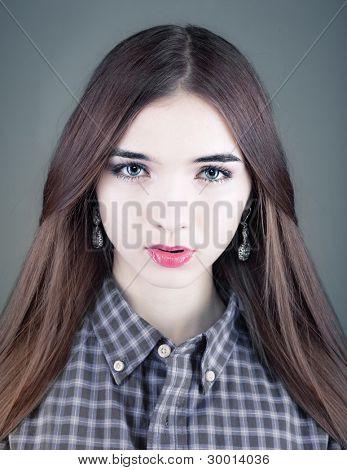 young beautiful woman studio portrait