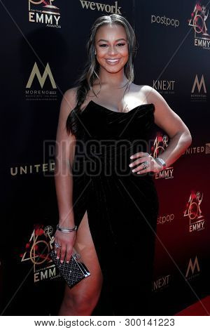 PASADENA - May 5: Nia Sioux at the 46th Daytime Emmy Awards Gala at the Pasadena Civic Center on May 5, 2019 in Pasadena, California