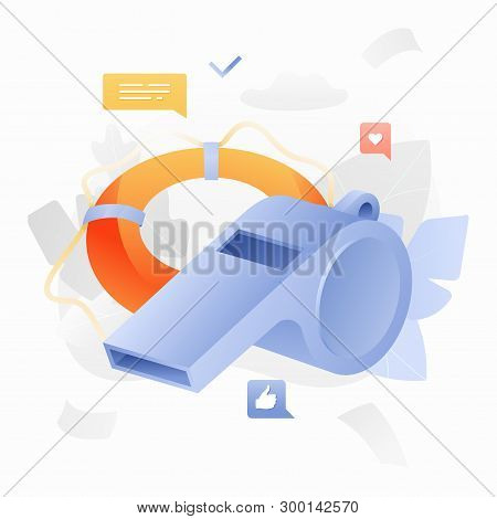 Whistle And Lifering Vector Illustration. Safety And Rescue Concept.