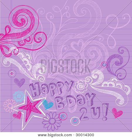 Happy Birthday Party Sketchy Back to School Hand-Drawn Notebook Doodles Vector Illustration Design Elements on Lined Sketchbook Paper Background